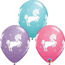"Whimsical Unicorn Assorted Colour 11"" Latex Balloons 25pk"