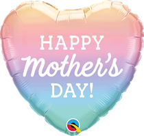 """Mother's Day Pastel Ombre 18"""" Heart Foil Balloon"""