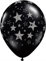 "Glitter Stars 11"" Black Latex Balloons 25pk"
