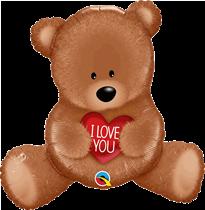 "Love You Sitting Teddy Bear 35"" Foil Balloon"