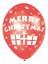 "Merry Christmas Red & Green 11"" Latex Balloons 6pk"