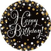 """Gold Celebration Happy Birthday 9"""" Paper Plates 8pk"""
