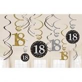 Gold Celebration 18th Birthday Hanging Swirl Decorations 12pk