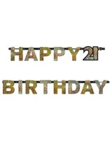 Gold Celebration Happy 21st Birthday Letter Banner