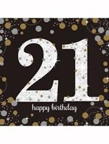21st Birthday Gold Celebration Luncheon Napkins 16pk