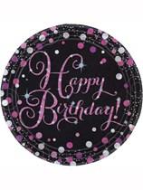 "Happy Birthday Pink Celebration 9"" Paper Plates 8pk"