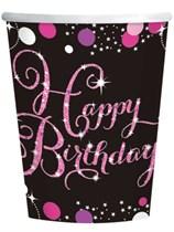 Happy Birthday Pink Celebration Paper Cups 8pk