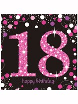 Happy 18th Birthday Pink Celebration Luncheon Napkins 16pk