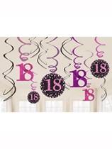 Pink Celebration 18th Birthday Hanging Swirl Decorations 12pk