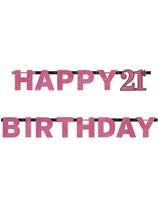 Pink Celebration Happy 21st Birthday Letter Banner