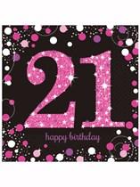 Happy 21st Birthday Pink Celebration Luncheon Napkins 16pk