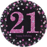 Pink Celebration 21st Birthday Paper Plates 8pk