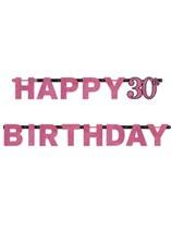 Pink Celebration Happy 30th Birthday Letter Banner