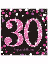 Happy 30th Birthday Pink Celebration Luncheon Napkins 16pk