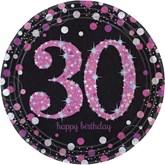 Pink Celebration 30th Birthday Paper Plates 8pk