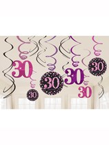 Pink Celebration 30th Birthday Hanging Swirl Decorations 12pk