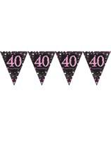 Pink Celebration Happy 40th Birthday Flag Banner
