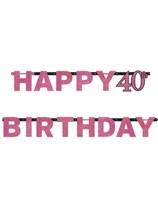 Pink Celebration Happy 40th Birthday Letter Banner