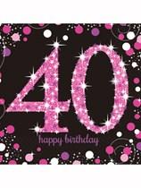 Happy 40th Birthday Pink Celebration Luncheon Napkins 16pk