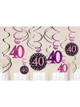 Pink Celebration 40th Birthday Hanging Swirl Decorations 12pk