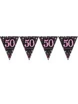 Pink Celebration Happy 50th Birthday Flag Banner