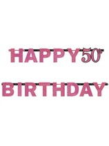 Pink Celebration Happy 50th Birthday Letter Banner