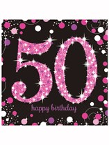 Happy 50th Birthday Pink Celebration Luncheon Napkins 16pk