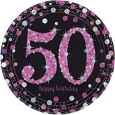 Pink Celebration 50th Birthday Paper Plates 8pk