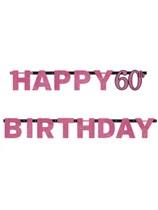 Pink Celebration Happy 60th Birthday Letter Banner