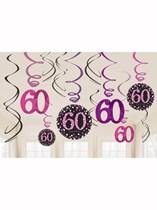 Pink Celebration 60th Birthday Hanging Swirl Decorations 12pk