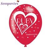 "Ruby 40th Anniversary 11"" Latex Balloons 6pk"