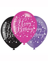 "Happy Birthday Pink Celebration 11"" Latex Balloons 6pk"