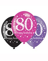 "Happy 80th Birthday Pink Celebration 11"" Latex Balloons 6pk"