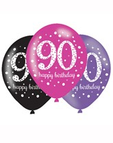 "Happy 90th Birthday Pink Celebration 11"" Latex Balloons 6pk"