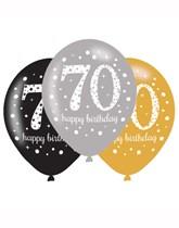 "Happy 70th Birthday Gold Celebration 11"" Latex Balloons 6pk"