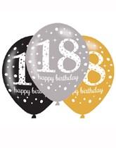 "Happy 18th Birthday Gold Celebration 11"" Latex Balloons 6pk"