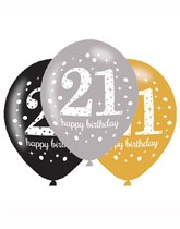 "Happy 21st Birthday Gold Celebration 11"" Latex Balloons 6pk"