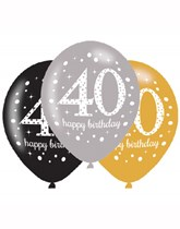 "Happy 40th Birthday Gold Celebration 11"" Latex Balloons 6pk"