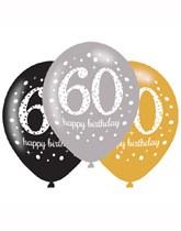"Happy 60th Birthday Gold Celebration 11"" Latex Balloons 6pk"