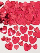 Ruby Red Love Hearts Embossed Metallic Confetti 14g