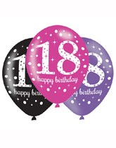 "Happy 18th Birthday Pink Celebration 11"" Latex Balloons 6pk"