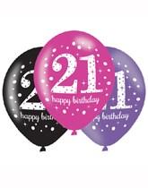 "Happy 21st Birthday Pink Celebration 11"" Latex Balloons 6pk"