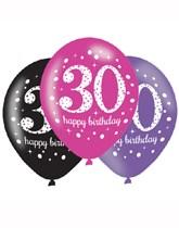 "Happy 30th Birthday Pink Celebration 11"" Latex Balloons 6pk"