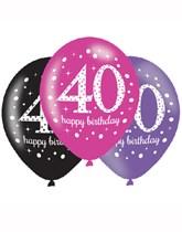 "Happy 40th Birthday Pink Celebration 11"" Latex Balloons 6pk"
