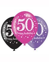 "Happy 50th Birthday Pink Celebration 11"" Latex Balloons 6pk"