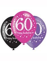 "Happy 60th Birthday Pink Celebration 11"" Latex Balloons 6pk"