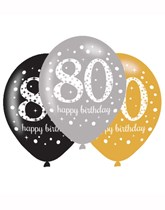 "Happy 80th Birthday Gold Celebration 11"" Latex Balloons 6pk"
