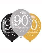 "Happy 90th Birthday Gold Celebration 11"" Latex Balloons 6pk"