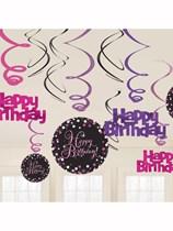 Pink Celebration Happy Birthday Hanging Swirl Decorations 12pk