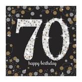 70th Birthday Gold Celebration Lunch Napkins 16pk